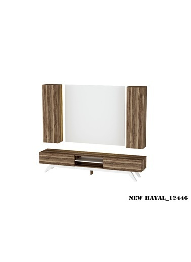 Sanal Mobilya Hayal 12446 Tv Ünitesi Leon Ceviz/Parlak Beyaz Beyaz